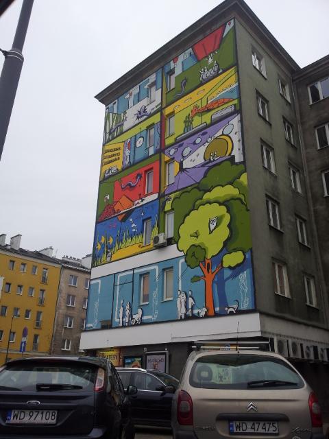 раскрашенный дом в Варшаве