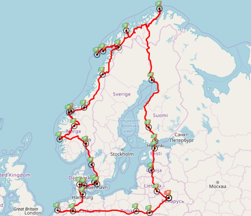 карта путешествия 2018 года